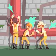 Three Plumbers At Work Funny Scene Stock Illustration
