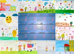 Calendar for 2016 with different children's drawings Stock Illustration