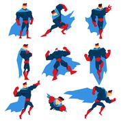 Superhero With Blue Cape In Different Comics Classic Poses Stickers Stock Illustration