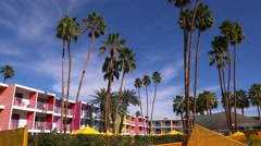 A busy and colorful resort hotel in Palm Springs, California. Stock Footage