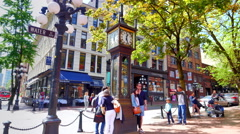 4K Clock Landmark Feature, Historic Antique Steam Clock, Vancouver Gastown Stock Footage