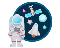 Astronaut and Space Set Stock Illustration