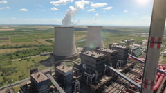 Aerial shot of thermal power plant - cooling towers Stock Footage