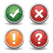 Check mark cancel question badge set Stock Illustration