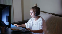Young woman playing video games on your computer. rabid gamer. I lost the game Stock Footage