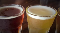 Selection of different beer types Stock Footage