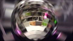 Party Disco ball with colorful lights rotating Stock Footage