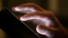 Man looking through screen pages on smartphone Stock Footage