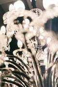 Chrystal chandelier close up, selective focus. Stock Photos