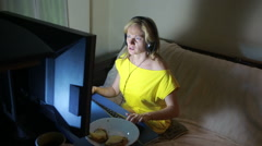 Adult woman playing video games on your computer. rabid gamer. I lost the game Stock Footage