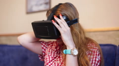 Lady testing a virtual reality glasses Stock Footage