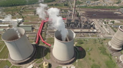 Aerial view of thermal power plant cooling towers Stock Footage