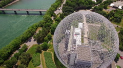Aerial View of the Biosphere Environment Museum in Montreal, Quebec, Canada Stock Footage