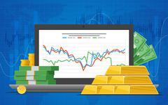 Gold price vector illustration in flat style. Stock chart on laptop screen Stock Illustration