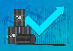 Oil industry concept. Raising prices chart. Financial markets vector Stock Illustration