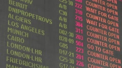 Billboard at the airport show flights info Stock Footage