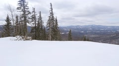 Skier on the slope at a ski resort in slowmotion. 1920x1080 Stock Footage