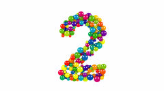 Multi-colored balls in the shape of number two Stock Footage