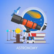 Astronomy science education concept vector poster in flat style design Stock Illustration