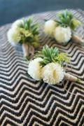 Boutonniere for groom and groomsman on black and white wavy stripes pattern Stock Photos