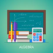 Algebra math science education concept vector poster in flat style design Stock Illustration