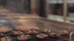 Cooking meatball on grill - Close up Stock Footage