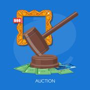 Auction and bidding concept vector illustration in flat style design. Selling Stock Illustration