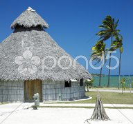 Demonstration of aboriginal hut, Bahia de Bariay, Holguin Province, Cuba Stock Photos