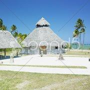 Demonstration of aboriginal hut, Bahia de Bariay, Holguin Province, Cuba Stock Photos