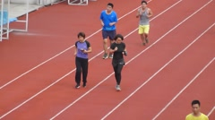 People run for exercise in the morning Stock Footage