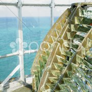 Lighthouse''s interior, Fresnel lens, Cayo Pared Stock Photos
