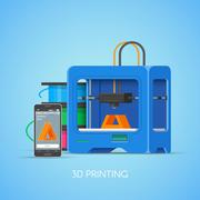 Vector 3D printin concept poster in flat style. Industrial printer print objects Stock Illustration