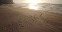 Aerial Shot of a Beach in Sintra, Portugal, at Sunset Stock Footage