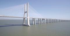 Aerial Shot of the Vasco da Gama Bridge, Lisbon Stock Footage