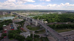 Aerial View of Traffic on the Jacques Cartier Bridge, Montreal, Quebec, Canada Stock Footage
