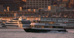 New York Waterway Boat on the water in slow motion Stock Footage