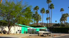 Exterior establishing shot of a Palm Springs California mid century modern home Stock Footage