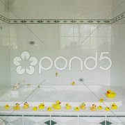 Bath tub with rubber ducks Stock Photos