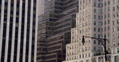 Cascading skyscraper architecture in New York City on grey day Stock Footage