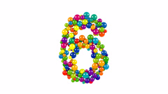 Multi-colored balls in the shape of number six Stock Footage