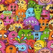 Cartoon Monsters Seamless Stock Illustration