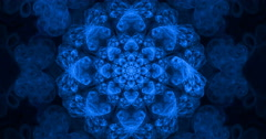 4K abstract blue snowflake texture motion background seamless looping fractal Stock Footage