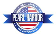 Pearl harbor remembrance day seal stamp Stock Illustration
