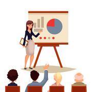 Businesswoman giving presentation using a board Stock Illustration
