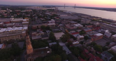 French Huguenot Church and Saint Philips Church in Downtown Charleston Aerial Stock Footage