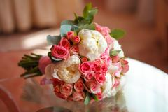 Beautiful peony and rose wedding bouquet. Marriage concept Stock Photos
