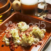 South Bohemian dumplings with cabbage Stock Photos