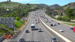 High angle view over a busy California highway in Ventura County. Stock Footage