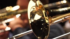 Closeup film of fragment trumpet. Instrument closeup on focus and focusless Stock Footage