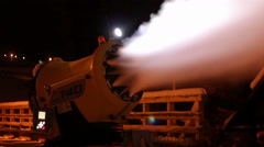 Snow cannons are working at night Stock Footage